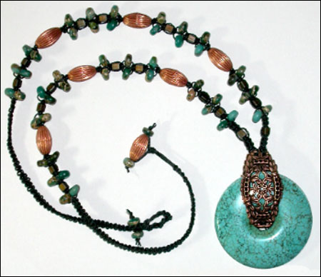 Copper & Turquoise Knots Necklace