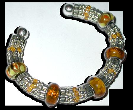 Large-Hole Bead Herringbone Bangle (Bracelet)
